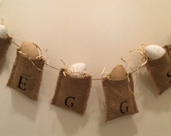 Roosters Egg Burlap Banner. Burlap Banner. Housewarming Gift. Rooster lover.Country Home. Handmade. Home Decor. Ready to Ship