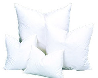 "Pillow Inserts for 24""x24"",22""x22"", 20""x20"", 18""x18"", 16""x16"" or 12""x16"", Down/Feather or Cluster Poly"