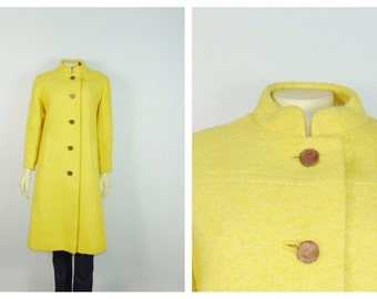Vintage Coat 50s 60s Sycamore for Heavenrich's Yellow Coat Mandarin Collar Beautiful Condition Unique Color Modern Small to Medium