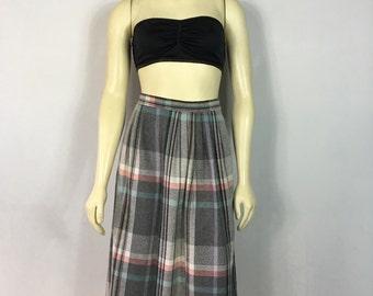 Vintage Skirt 80s Pastel Plaid Skirt