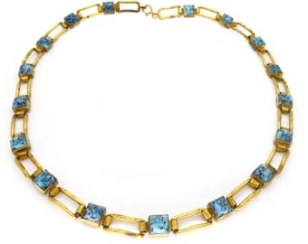 Vintage 1970s Gold Tone Etruscan Style Blue Glass Necklace