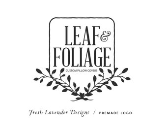Custom Logo Design Premade Logo and Watermark for Photographers and Small Businesses Farmhouse Chic Crest with Hand Drawn Laurels