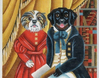 Hand Painted Needlepoint Folk Art Canvas - Boy and Girl Dogs in Library