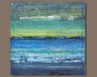 abstract painting, abstract ocean painting, texture, blue yellow, landscape painting, seascape, minimalist, beach painting, art on canvas