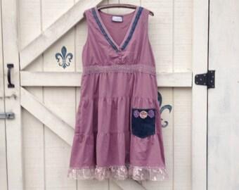 Hippie beach sundress XL lavender pink sundress, boho hippi chic