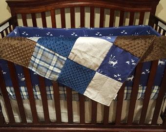 Baby Boy Crib Bedding - Navy Hunting, Plaid, Brushed Tan, Brown Minky, and Navy Minky Crib Baby Bedding Ensemble