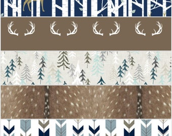 Woodland Fitted Crib Sheet - forest deer, antlers, trees, deer skin, or fletching arrow