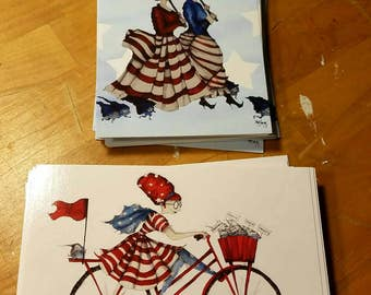 Patriotic Postcards, nasty woman, she persisted, protest, you work for us, red white and blue, flag, American flag