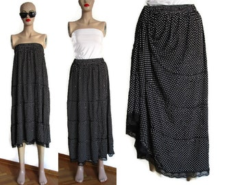 Layered skirt, Women's polka dot skirts, ladies cotton dress, black white skirt, women's  lace skirts, Summer Beach Dress Skirt Clothing