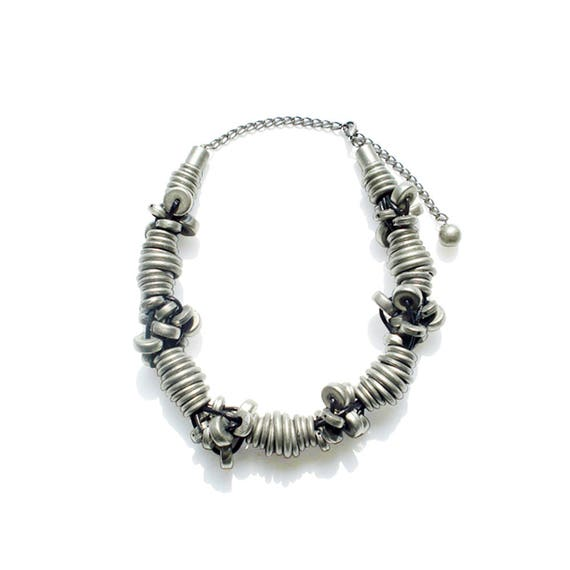 Rustic Metal Beads & Spacers Chunky Necklace