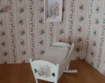 Dollhouse shabby chic antique cradle/frame with rabbit,  French style 1:12 scale
