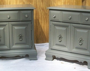 Painted Nightstands / End Tables Gray with Brushed Nickel Pulls