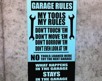 Popular Garage Rules Custom Wood Signs Wall Decor Gifts For Dad Fathers Grandpa Papa Opa Mom