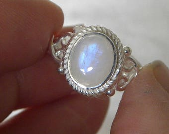 Moonstone Ring Handmade Ring Blue Flash 10x8mm Natural Gemstone Ring Sterling Silver Ring Size 10-12 Take 20% Off Rainbow Moonstone Jewelry