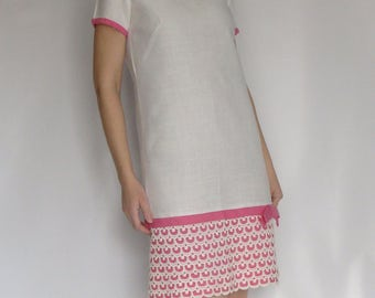 PINK and WHITE shift DRESS 1960's 60's lace overlay S