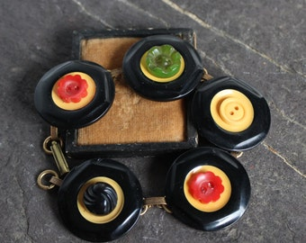 Antique Bakelite button bracelet, vintage retro jewelry recycled repurposed up cycled  victorian fall colors warm cookie black butterscotch