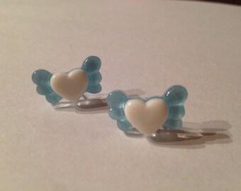 Mini Angel Heart Stud Earrings