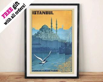 ISTANBUL TRAVEL POSTER: Vintage Turkey Travel Advert Reproduction Art Print