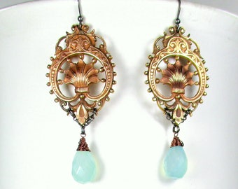 Aqua Chalcedony Earrings,Antique French Shell Stampings,Wire Wrapped Aqua Chalcedony,Glowing Chalcedony, Aqua Chalcedony