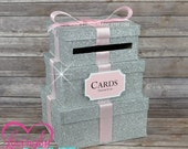 Cardbox -  3 Tier Fine Silver Glitter, Silver Rhinestones & Baby Pink Satin Ribbon - Gift Money Box for Any Event - Royal Prince Princess