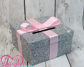 Mini Card Box -  Size 8 x 8 x 4 - Pink Ribbon & Glitter Silver -  Baby Shower, Bridal Shower, Birthday - Advise Box, Game Box, Raffle Box