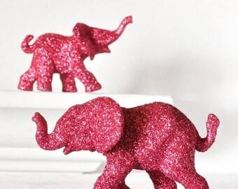 Hot Pink Baby Elephants Jungle Safari Baby Shower Decorations in Glitter for Wedding Cake Topper, Safari Birthday, Nursery Decor. Set of 2
