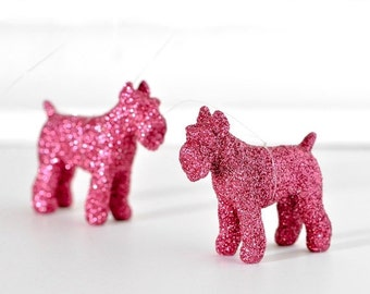 Pink Schnauzer Glitter Ornaments. Perfect Hostess Gift. Mini Puppy Dog Nursery Decor. Gift Set of 2. Stocking Stuffers for Him, Her, Kids.