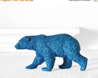 Polar Bear Wedding Cake Topper in Blue Glitter. Nursery Decor, Bridal or Baby Shower Decoration Tablescapes Winter Party Table Centerpiece