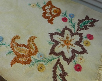 Vintage Boho Runner Cross Stitch Tea dyed folk embroidered Dresser Table Scarf Fringed Rusti