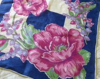 Printed Floral Handkerchief Vintage 40s ladies hanky Navy Blue with Violet  Motif Floral Printed scalloped edge