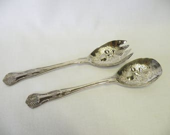 Set of Silverplate Salad Serving Utensils - Shell Design - Kings Pattern - China - Holiday Flatware, Tea Party Service, Weddings, Parties