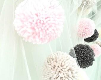Pom Pom Garland Yarn Pink - Linen - Ivory - Medium Gray - Yarn Pom Poms - Nursery - Wedding - Farmhouse Style Decor - Party - Garland 10 Ft.