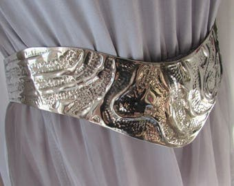 BELT Silver Metal Wide adjustable Costume, Boho High Fashion designer retro vintage