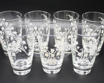 Embossed Lilly of the Valley Tumblers, Libbey, Group of 7, 1970s, Wedding, Excellent