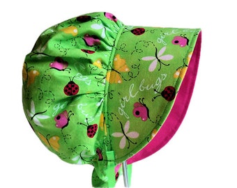 Baby Bonnet, Sun Hat, Summer Hat, Sun Bonnet, Ladybugs & Butterflies Cotton Hat For Newborn, Infant, Toddler, Girl, Made To Order