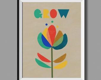 GROW. Retro Scandinavian Style Print. A3