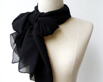 Solid Black Soft Chiffon Scarf, Simple Black Scarf