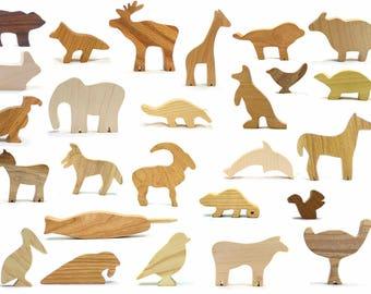Wood Animal Toy Set A-Z, Animal Alphabet, Toy Alphabet, Woodland Alphabet, Wooden Animal Toys, Bear, Giraffe, Narwhal, Horse, Turtle, Zebra