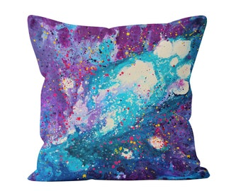 Purple & Teal Throw Pillow - 'stardust' Purple Abstract Decorative Throw Pillow Designed By Louise Mead Available In Two Sizes