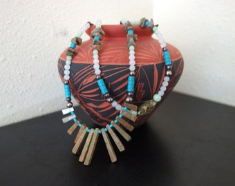 Authentic  Indian Native American Hand Beaded  Necklace Turquoise and Stone Sterling Silver  25 Inch New Mexico