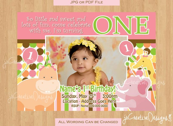 Jungle invite girl 1st birthday invitation 1st party invitation il570xn filmwisefo