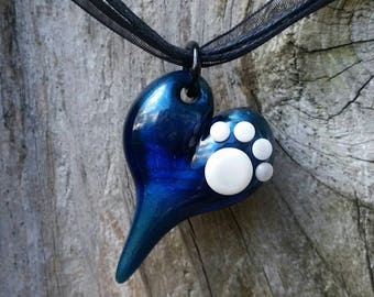 Paw Print - Glass Heart Pendant