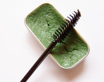 Bright Green Creamy Cake Mascara - Mineral Makeup - Zero Waste Vegan Mascara - Cake Eyeliner - Bright Green Cake Mascara -Cat Eyes
