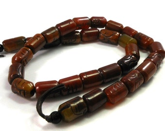 Carved Brown Agate Stone Beads, Full Strand, Rustic Primitive, 13mm Short Tube Beads, Crafting Beads, Jewelry Making, Supply Beads, Dark