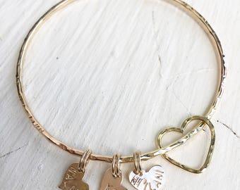 Floating Open Heart & Stamped Heart Bangle- heart bangle, beach bangles, bangles, ocean inspired, boho beach, organic, hawaii