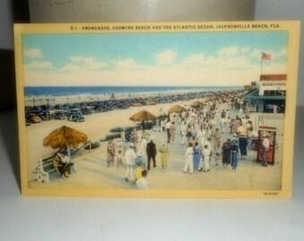 Vintage Linen Postcard, Florida Postcard,Jacksonville Beach, Linen Postcards