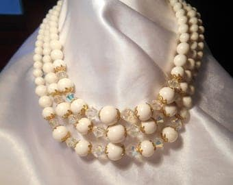 Triple Strand White Beaded Necklace With Faceted AB Beads