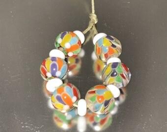 Rainbow Lotus Petal Lampwork Beads
