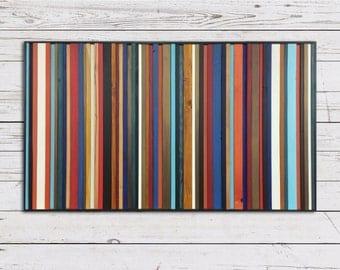 "Reclaimed Wood Art Sculpture ""Rio"" - Striped Wood Wall Art - Modern Wood Wall Art - Abstract Wood Art"