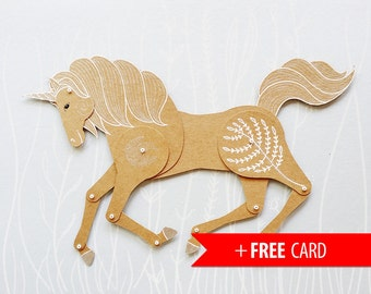 Unicorn articulated paper doll handmade greeting card magical horse puppet birthday present whimsical unusual gift home decoration magic